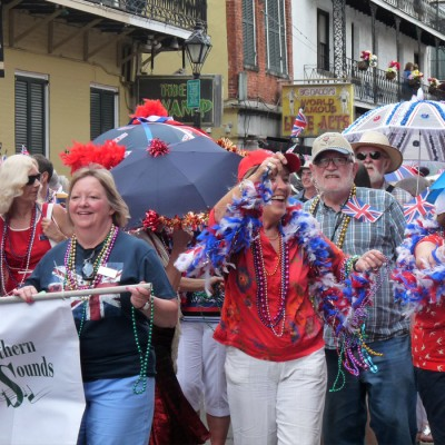 British jazz holiday makers in opening French Quarter Festival parade