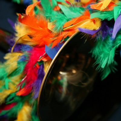 New Orleans Jazz Holiday Trumpet with feathers